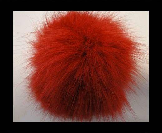 Pompon en fourrure de renard - 14cm - Rouge