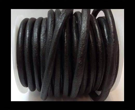 Full Round leather Cords - 6mm - SE.Black