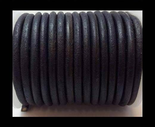 Full Round leather Cords - 6mm - V.Dark Blue