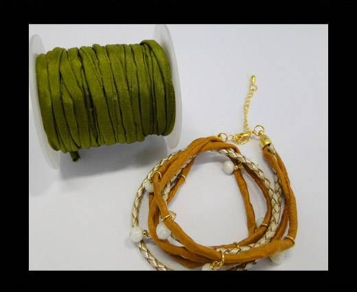 Habotai silk cords - Bright Olive