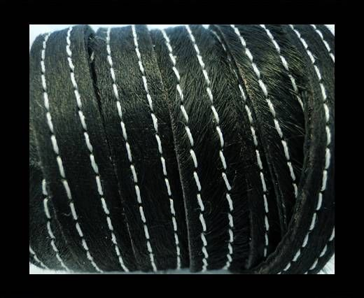 Hair-On Leather with Stitch-Black-10mm