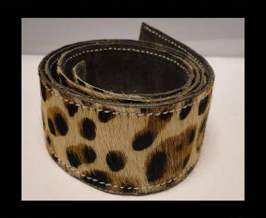 Ceinture en cuir naturel avec poil - Leopard Skin - 40mm