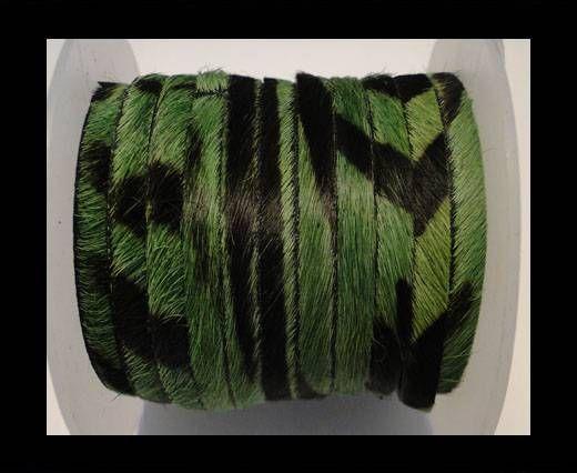 Hair-On-Flat Leather-Green Zebra-10MM