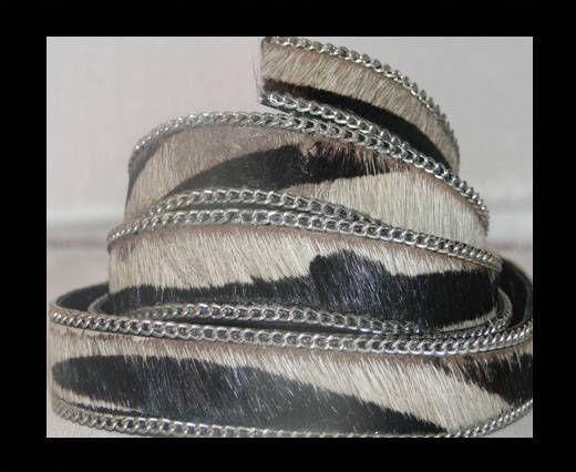 Cuir naturel avec poil et chaîne - SE-HS-11-Zébré