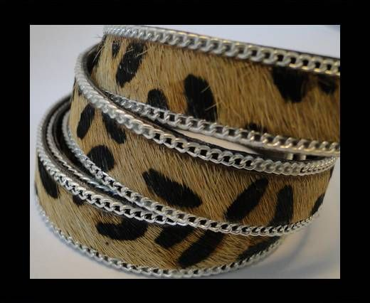 Hair-on leather with Chain - Leopard skin - 10mm