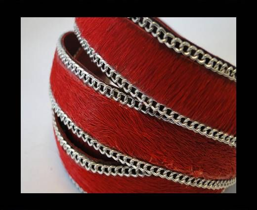 Hair-on leather with Chain - Red - 10mm