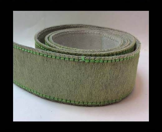 Hair-On Leather Belts-parrot green-40mm