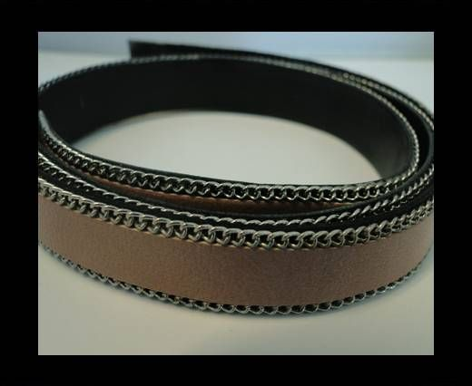 Flat Leather with Chain- Camel-10mm