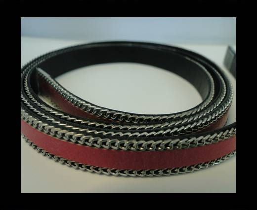 Flat Leather with Chain- Fuchsia-10mm