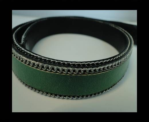 Flat Leather with Chain- Green-10mm