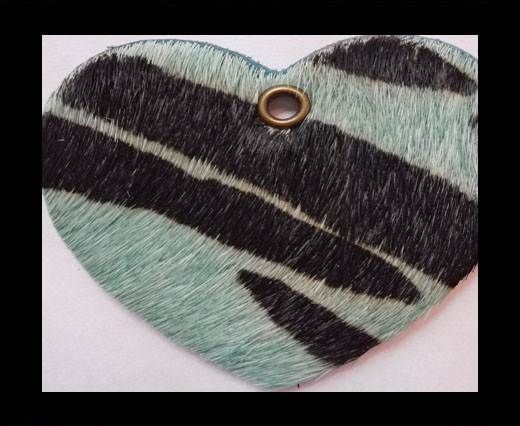 KC-Key Cord Heart Shape 4cm zebra green