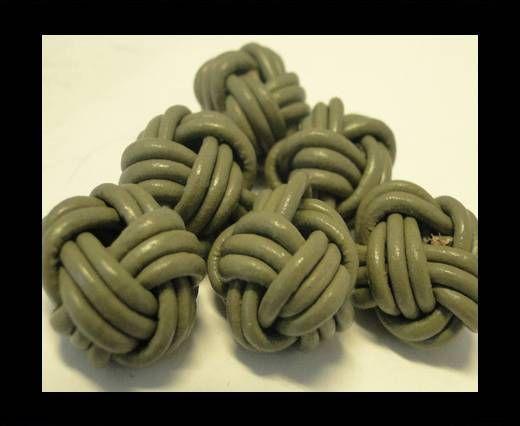 Leather Beads -8mm-Light Khaki
