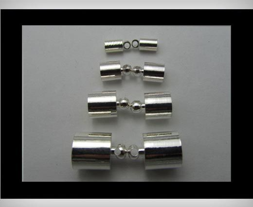 Leather End Caps FI7013 - Silver - 10mm