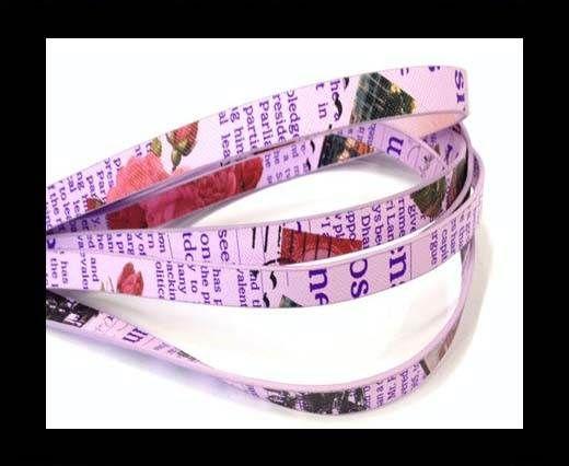 Cuir avec imprimé journal  - 10mm - Violet