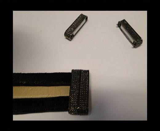 Fermoir magnétique pour cuir - MGL32 - 28*4mm - Noir
