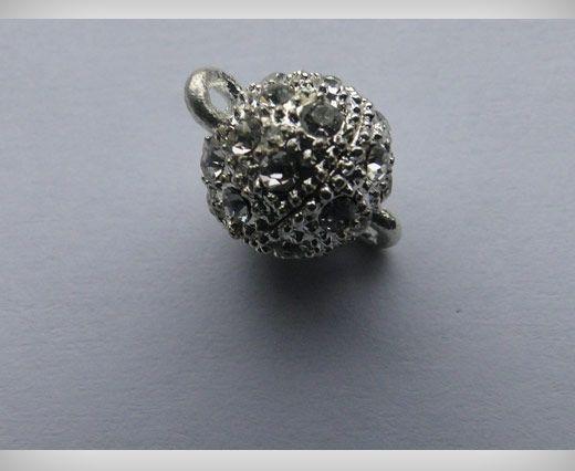 Fermoir magnétique avec cristaux - MG2 - 8mm - Argent