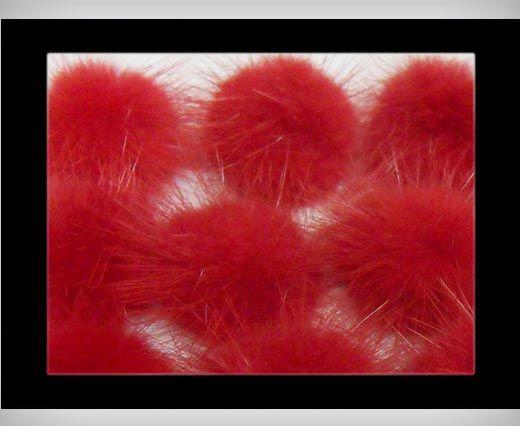 Pompon de vison - Rouge