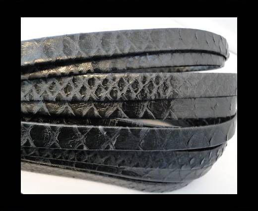 Cuir Nappa plat - 10mm - Lizard Snake - Noir