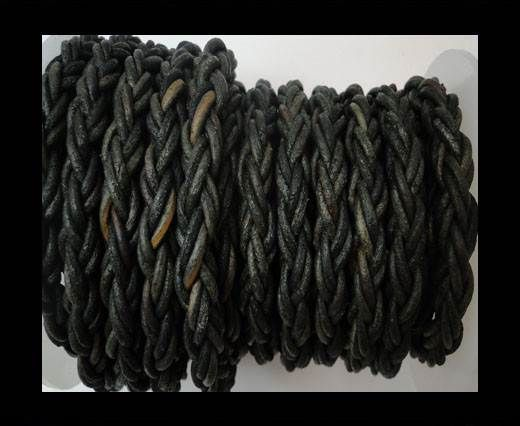 Plaited Round Leather cords -14mm - Vintage Black