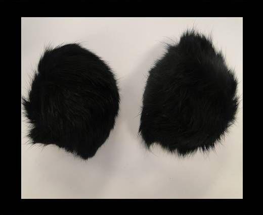 Pompon en fourrure de lapin - 9cm - Noir