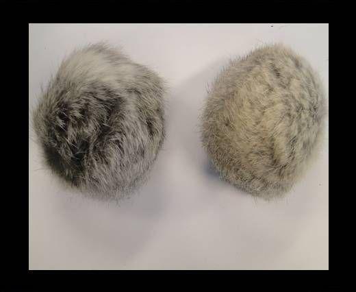 Pompon en fourrure de lapin - 9cm - Gris clair