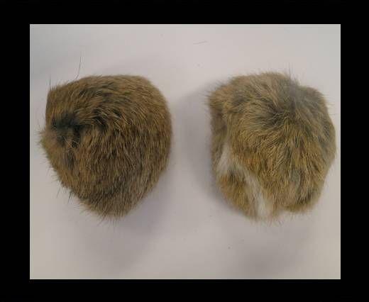 Pompon en fourrure de lapin - 9cm - Naturel