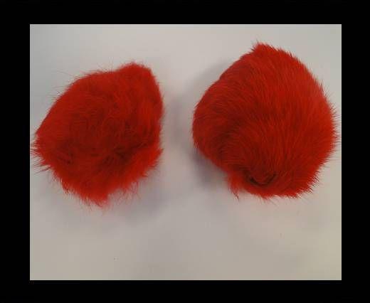 Pompon en fourrure de lapin - 9cm - Rouge