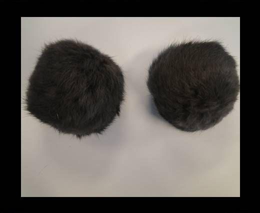Pompon en fourrure de lapin - 7cm - Gris