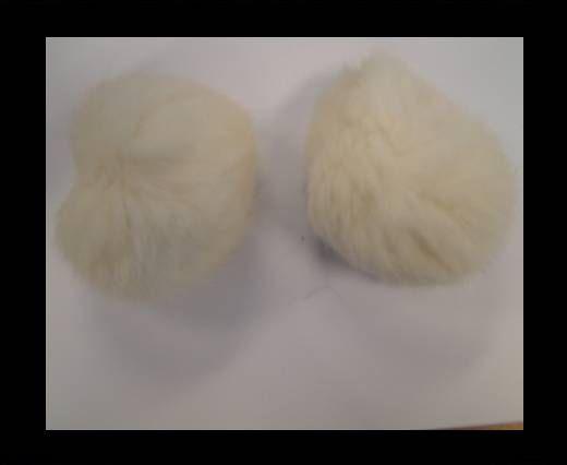 Pompon en fourrure de lapin - 7cm - Blanc