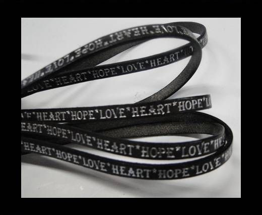 Real Flat Leather-5MM-Hope Love Heart style-Grey