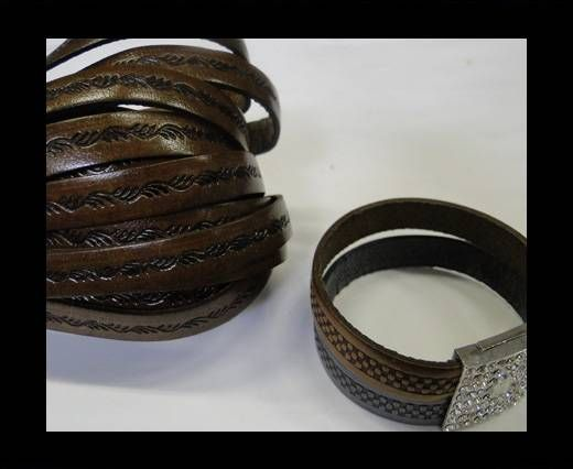 Real Flat Leather-10MM-Ceasar style-Dark Brown