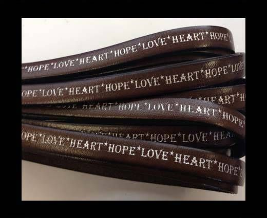 Real Flat Leather-10mm-Hope Love Heart style-dark brown-silver
