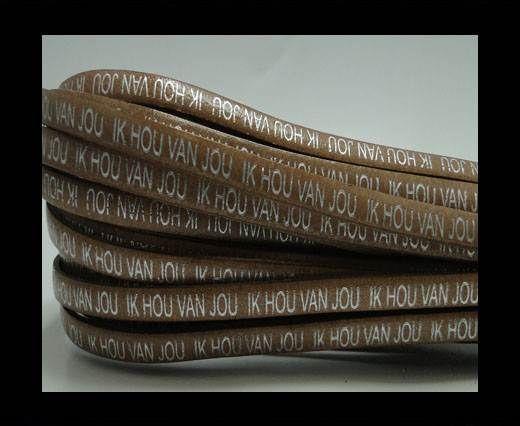 Real Flat Leather-5MM-IK HOU VAN JOU-silver-Light Brown