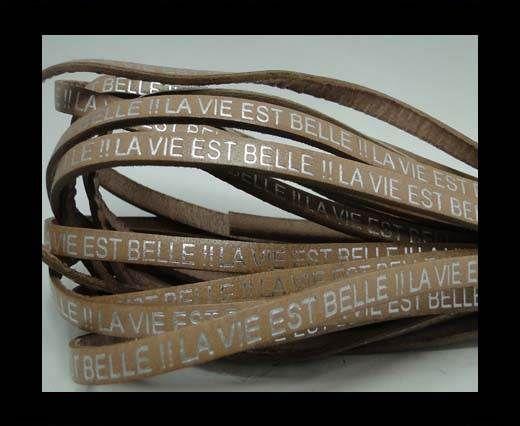 Real Flat Leather-LA VIE EST BELLE-Silver-Light Brown