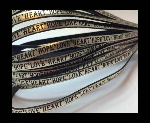 Real Flat Leather-5MM-Hope Love Heart style-Metallic Gold