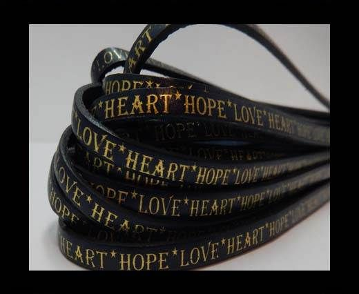 Real Flat Leather-10mm-Hope Love Heart style-Blue with gold