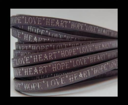Real Flat Leather-10mm-Hope Love Heart style-Lilla with silver