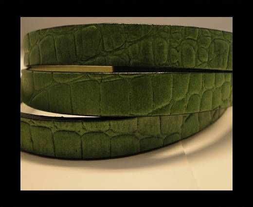Real Leather Croco Print - Grass Green-10mm
