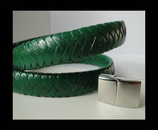 Real Nappa Flat Woven Cords - 15 mm - Grass Green