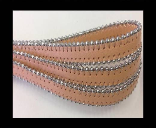 Real Nappa Flat Leather with steel balls chains-10mm-Peach