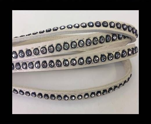 Real Nappa Flat Leather with swarovski crystals-6mm-Ivory