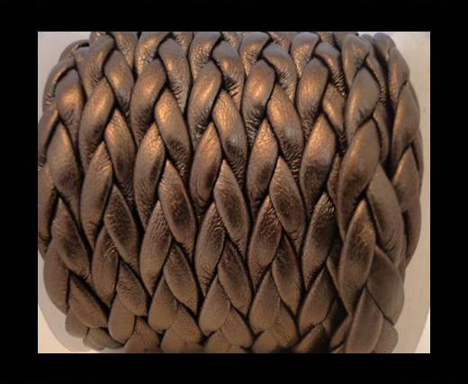 Real Nappa Leather -Flat-Braided-Metallic Bronze-10mm