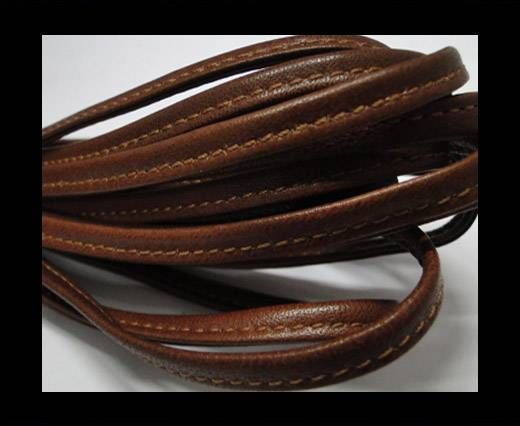 Real nappa leather stitched - 5mm - Chocolate Brown