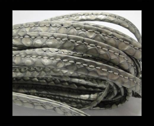 Real nappa leather stitched - 5mm - Snake Style - Silver