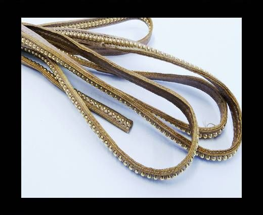 Real Nappa leather with gold plated ball chains-6mm-Rose Gold