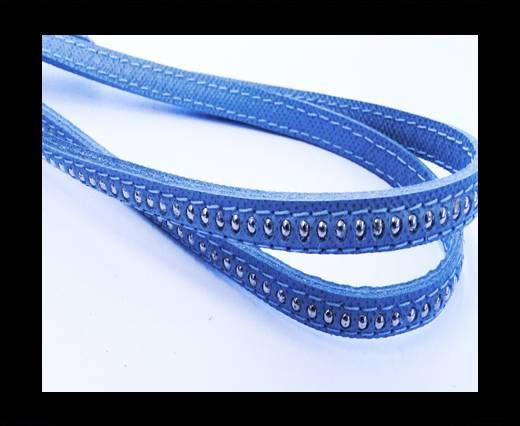 Real Nappa leather with silver plated ball chains-6mm-Light Blue