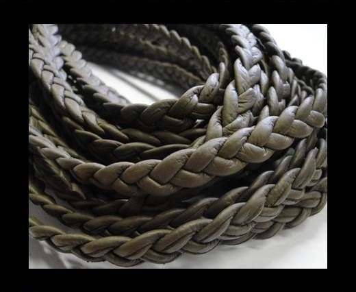 Real Nappa Leather -Flat-Braided-Chocolate brown-10mm