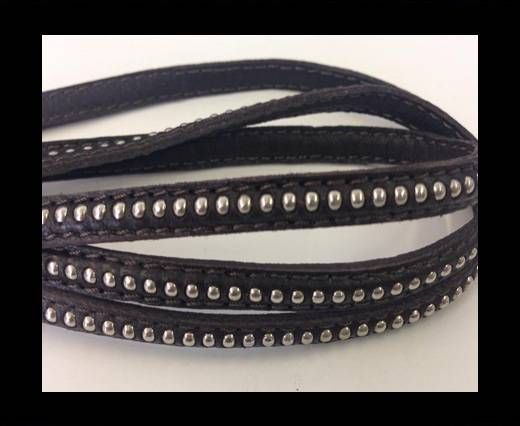 Real Nappa leather with silver plated ball chains-6mm-Coffee bro