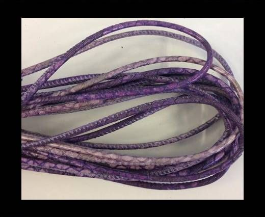 Real Nappa Leather Round-2.5MM-Snake style-Blue-lilac