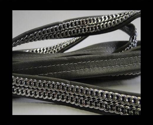 Real Nappa Leather with Double Stainless Steel Chain -10mm-Dark